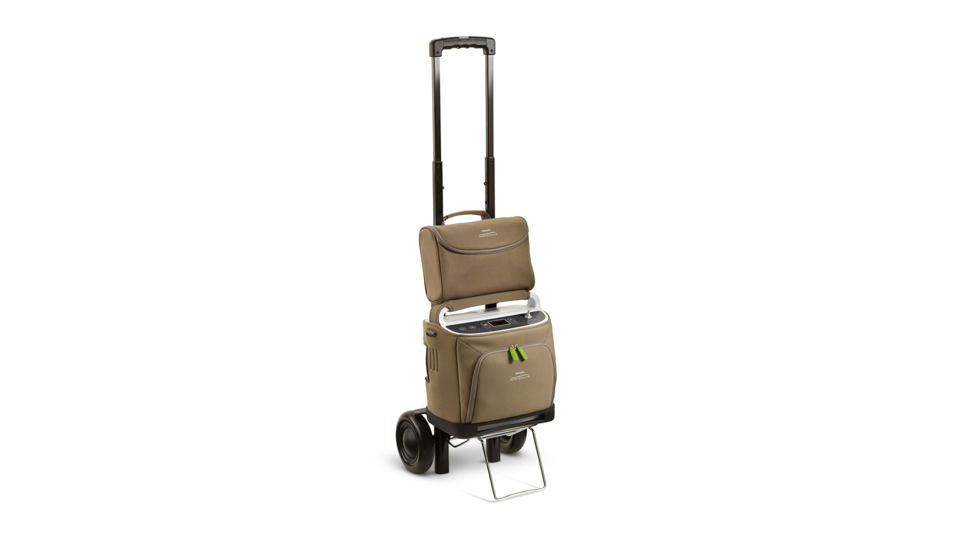 Simply Go portable oxygen concentrator on trolley